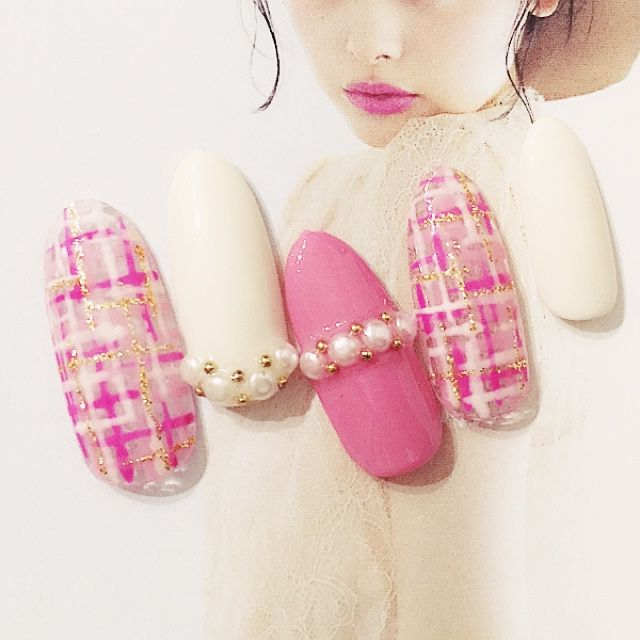 ネイル 画像 nail salon kitty 立川南 1153600 ピンク ホワイト ツイード
