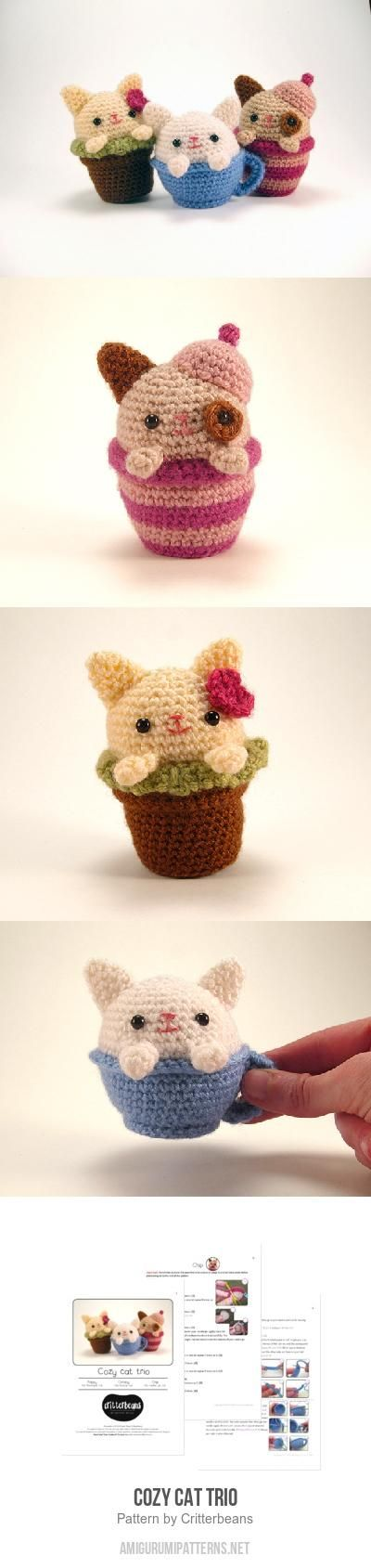 Cozy Cat Trio Amigurumi Pattern