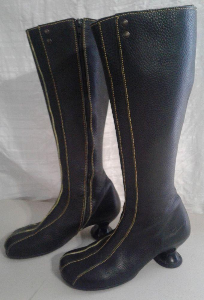 62bcba658dcf1 John Fluevog Boots Black Leather Adanre Hey Minstrel Tall Mini ...