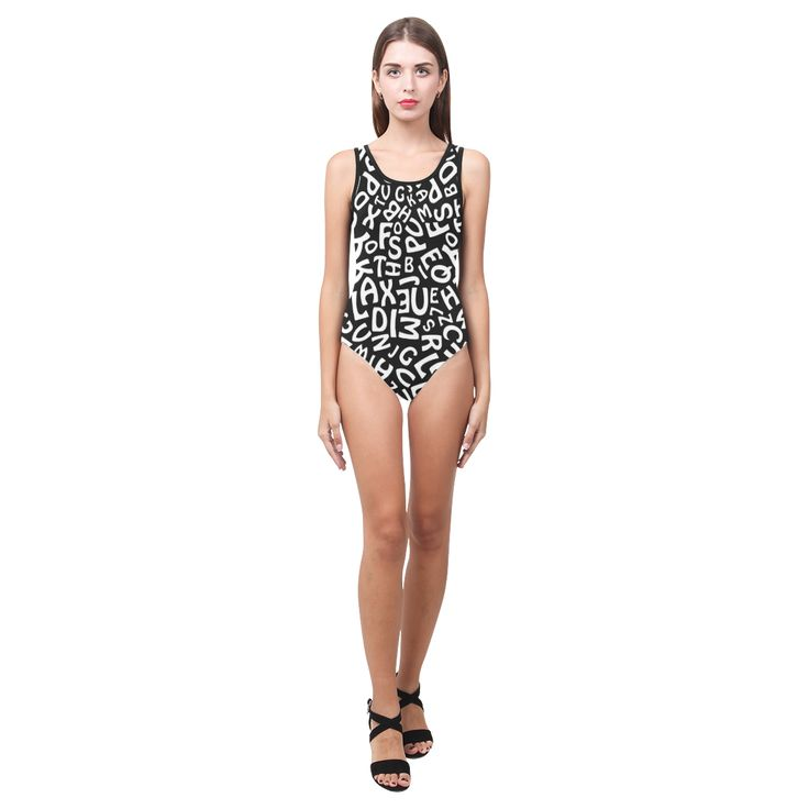 Alphabet Black and White Letters Vest One Piece Swimsuit (Model S04)
