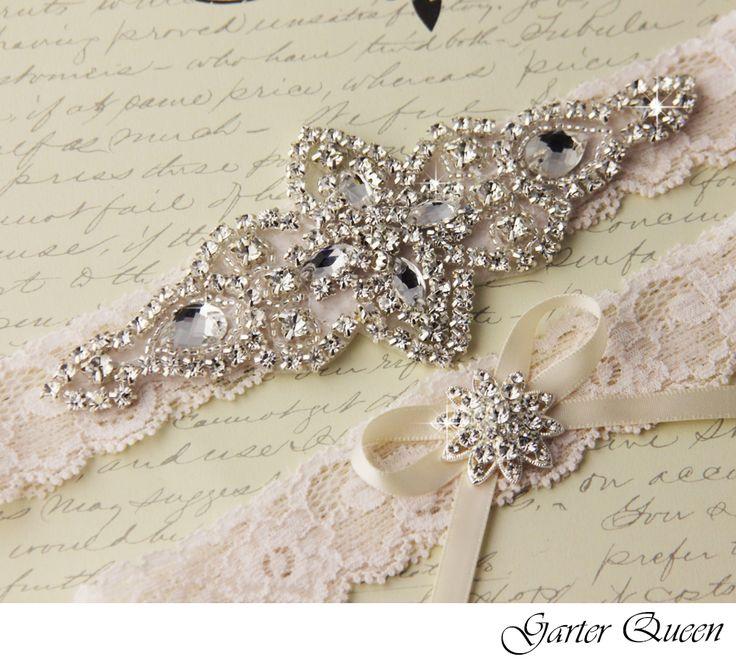 Wedding Garter Set Ivory Stretch Lace Bridal Heirloom Rhinestone And Crystal Garters