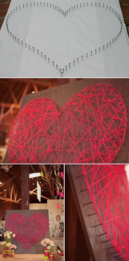"Materials needed:   • piece of wood - the bigger, more dramatic!   • string - the string used neon pink, but you can use any wire or rope   • box of nails (the nail head must be ""large"", so the wires do not escape.   • spray paint to paint the wood   • white paper to draw the heart. ..."