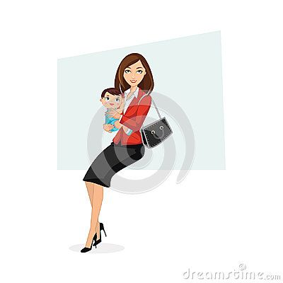 Illustration of happy working mom wearing formal office attire holding baby wearing blue cute clothes.