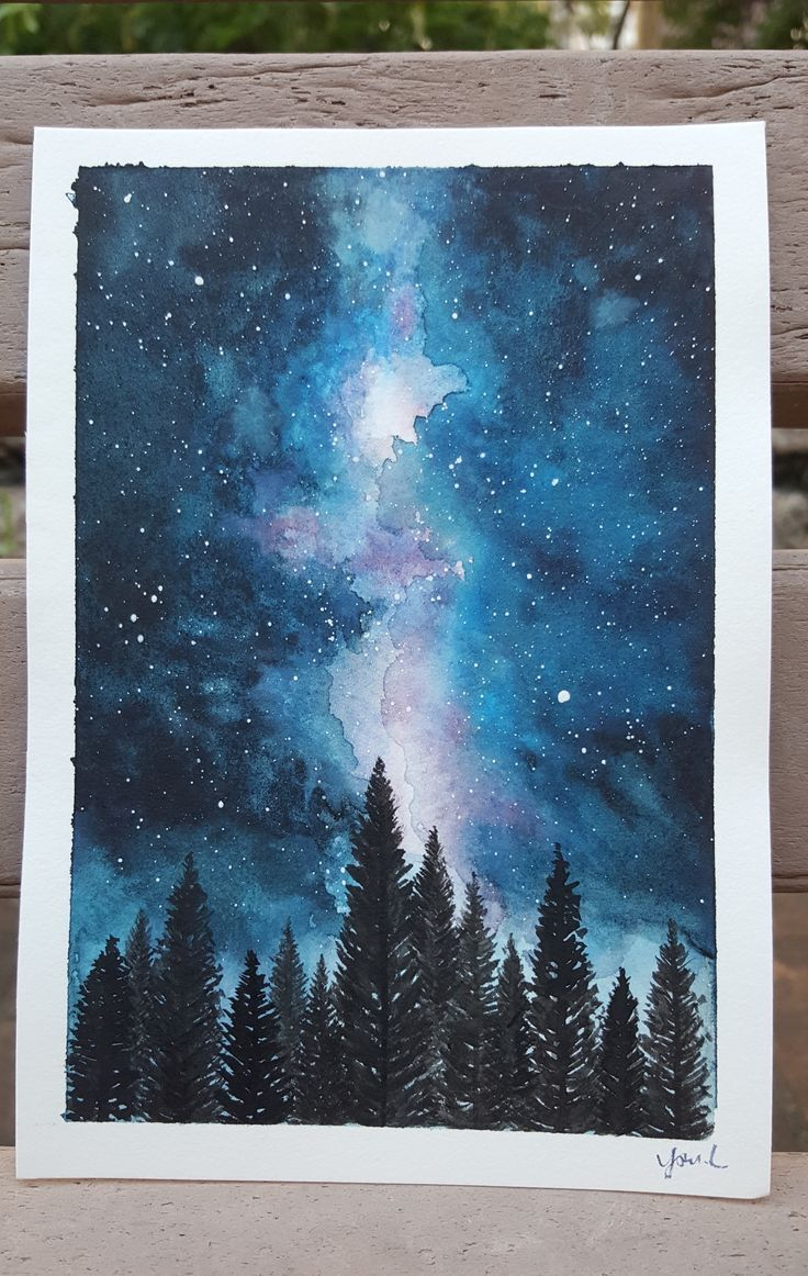 #art #watercolor #sky #night #poster #painting – -…