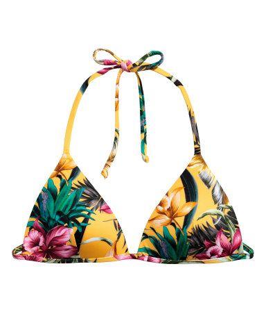 Push-up Bikini Top | Yellow/floral | Women | H&M US