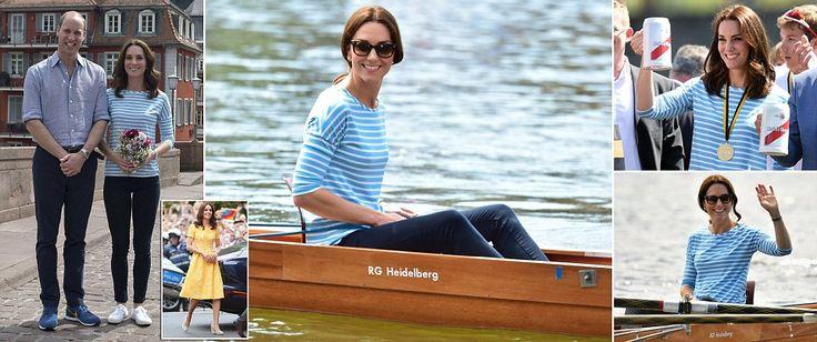 Kate Middleton wears gold of the German flag for lab visit