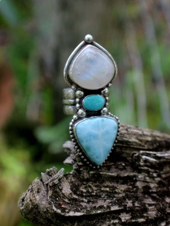 Enchanting and Magical Rings Larimar, Moonstone and Turquoise Statement Ring by SterlingToLove on Etsy