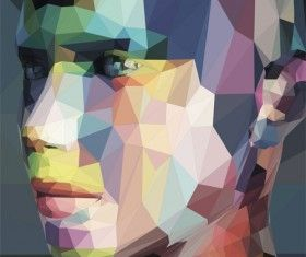 Geometric polygon portrait vector material 01