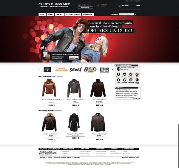 Site #ecommerce utilisant le module de création d'application mobile intégré à #emajine | CUIRS GUIGNARD. Le spécialiste des vêtements, accessoires et bagagerie en cuir. | Réalisation : Mediapilote | http://www.cuirs-guignard.com/