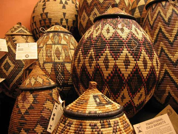 Traditional Zulu baskets woven out of grass.