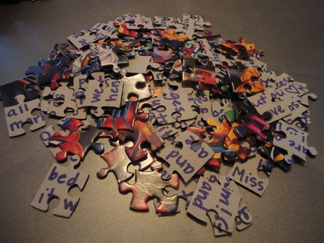 the.mallory.gallery: Pen Pal Puzzles - letter on the back of a puzzle