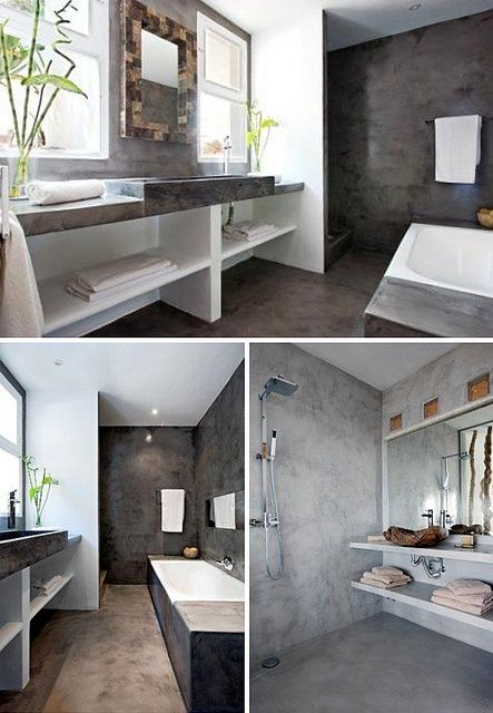 Cement bathroom walls - I like
