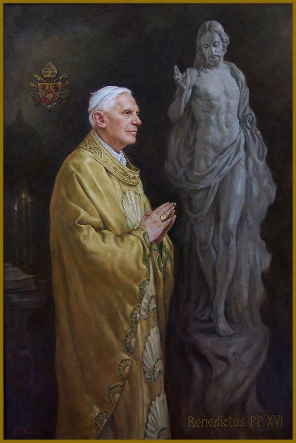A painting of Pope Benedict XVI. You've done a great job serving for Christ and the Roman Catholic Church. Vade In Pace.