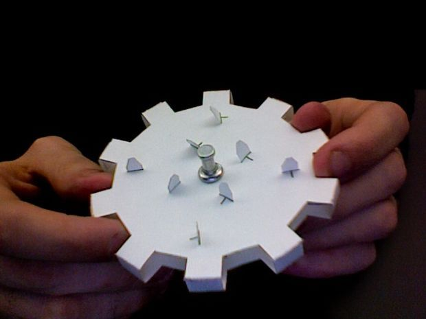 """Tutorial for Bulletin Board Display. Consider how to add a motor and a switch. """"Picture of How to Build Working Gears from Junkmail and Cardstock."""""""