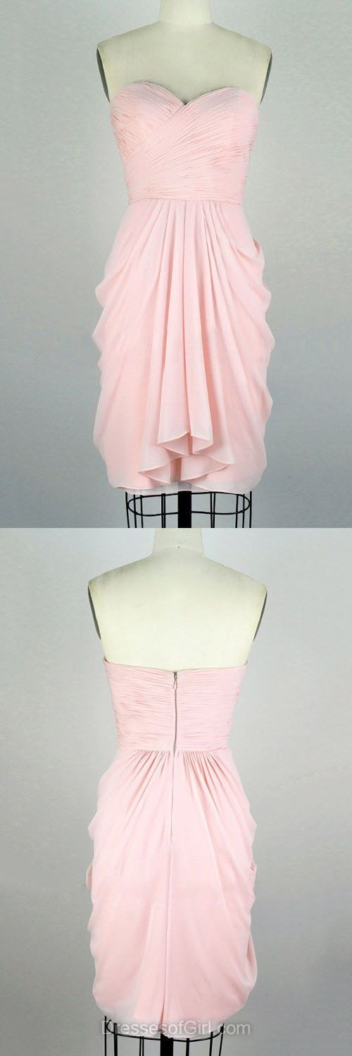 Pink Bridesmaid Dresses,Sweetheart Party Gowns,Chiffon Summer Dresses,Short Prom Dresses,Modest Cocktail Dresses