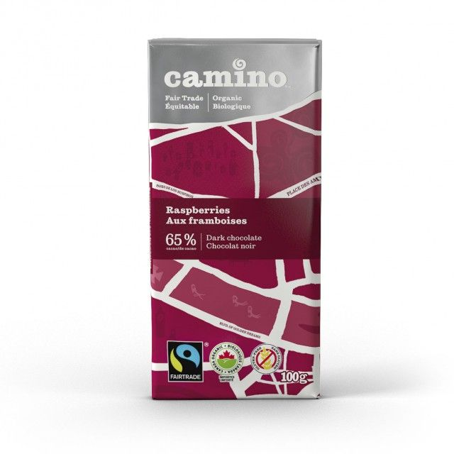 Avril 4,49 $ BARRE DE CHOCOLAT - CHOCOLAT NOIR 65% AUX FRAMBOISES CAMINO / 100 g