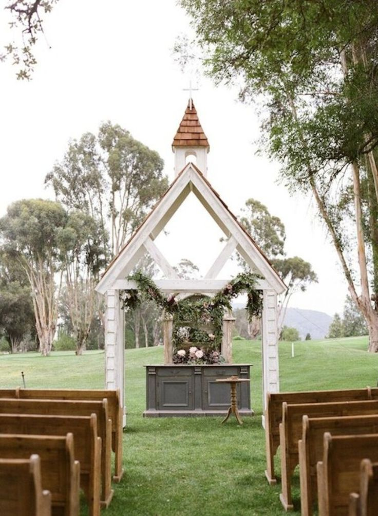 Archive Rentals Little White Chapel and Rustic Church Pews are a tasteful nod towards traditional.  See more here: http://archiverentals.com/item/530/little-white-chapel