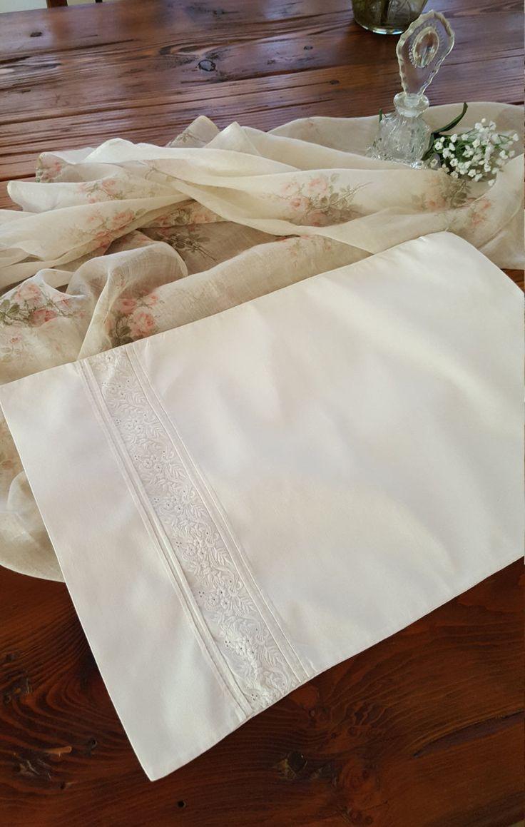 Antique Linen Baby Pillow Case Ayrshire Whitework Boudoir Sham by HerYesTerDay on Etsy