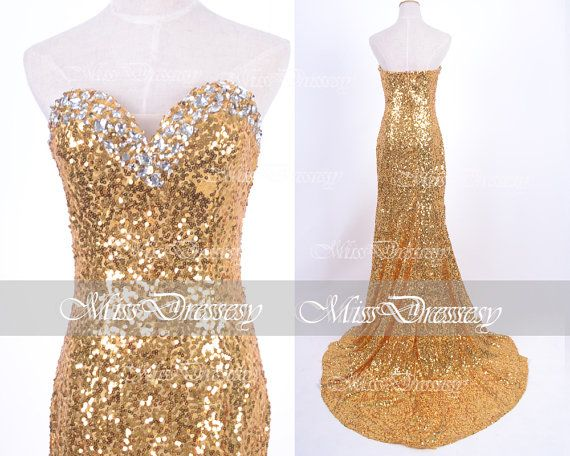 Sequin Prom Dresses, 2014 Prom Dresses, Mermaid Strapless Sequined Golden Prom Dresses, Gold Evening Gown, Wedding Party Dresses