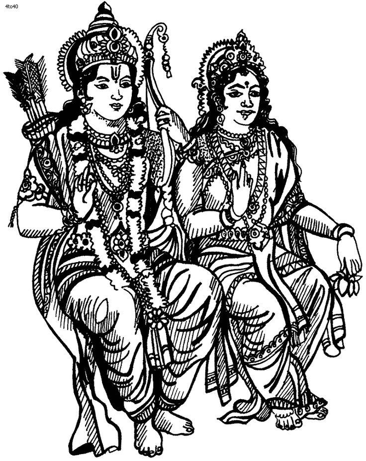 Goddess lakshmi coloring page goddess sita maa coloring for Lakshmi coloring pages