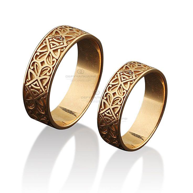 Широкие обручальные кольца с узором в древнерусском стиле