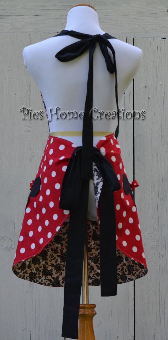 Minnie Mouse Apron Womens Full Cooking Apron by pieshomecreations