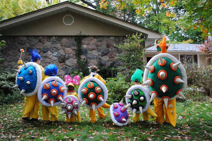 Home made Halloween costumes of Bowser, Bowser Jr. and Koopalings Ludwig, Iggy, Larry, Wendy and Roy Koopa. All from Super Mario Bros of course.