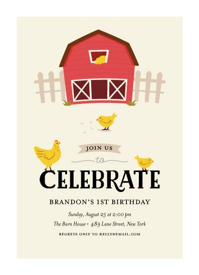 birthday party invitations - Barnyard Party by Joanne Williams