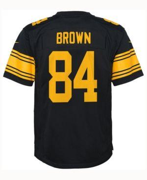 Nike Antonio Brown Pittsburgh Steelers Color Rush Jersey, Big Boys (8-20) - Black M