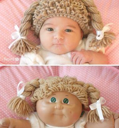 Crocheted cabbage patch doll hat (wig) / Horgolt babahaj - paróka / Mindy