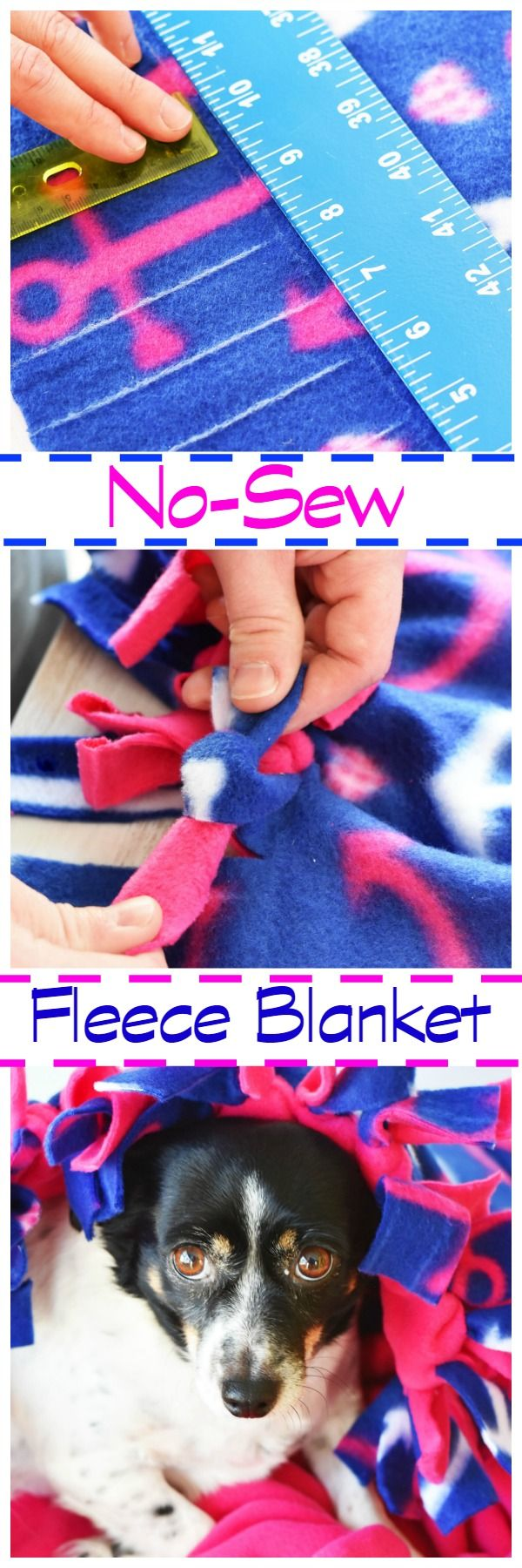 No-Sew Fleece Blanket is perfect for Pets and Kids. No glue, or thread needed for this blanket DIY. AD via @savvysavingcoup