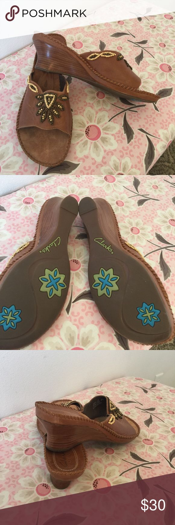 Clark's artisan sandals. Leather uppers 10 M Beaded details on the leather upper sandals are a beautiful detail.  Never worn Clarks Shoes Sandals