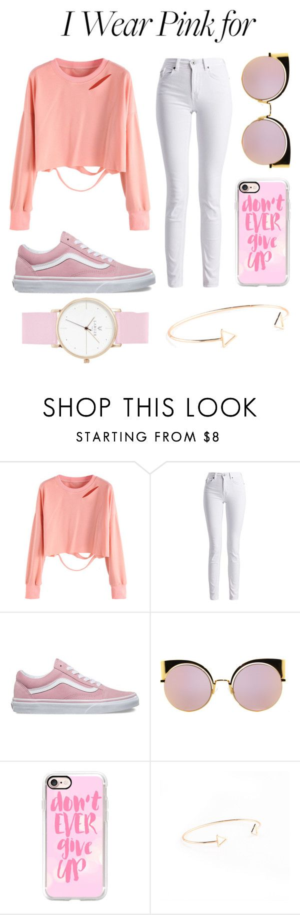 """""""P I N K F O R C A N C E R"""" by thatgirlangie ❤ liked on Polyvore featuring Barbour International, Vans, Fendi, Casetify and IWearPinkFor"""