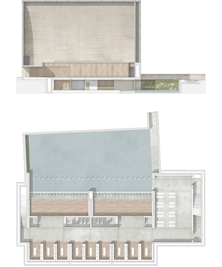 Mosque_Section and Basement floor plan