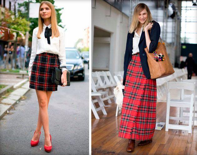 Клетчатые юбки выглядят очень гармонично с белой рубашкой.