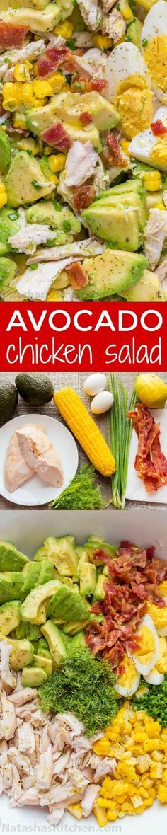 This Avocado Chicken Salad recipe is a keeper! Easy, excellent chicken salad with lemon dressing, plenty of avocado, irresistible bites of bacon and corn | natashaskitchen.com