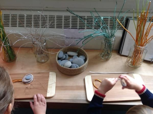 Wire and rock provocation: What can you make? Using various wire thicknesses and textures.