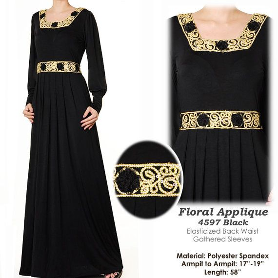 Lace Applique Jersey Abaya Muslim Islamic Long by MissMode21, $34.00