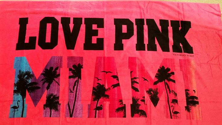 "Victoria's Secret Pink Extra Large beach towel Love Pink Miami palm 40"" X 70"" #VictoriasSecretPink"