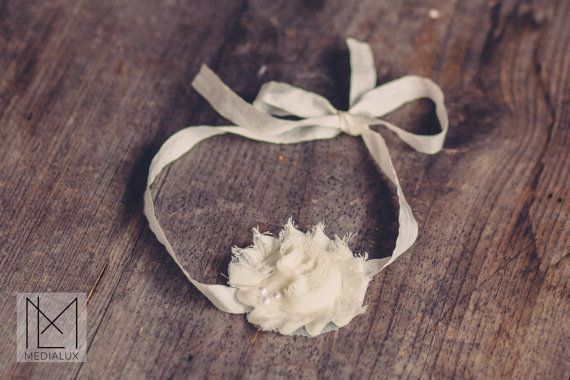 Tie Back Chiffon Frayed Flower Headband by BeautyfromashesUSA