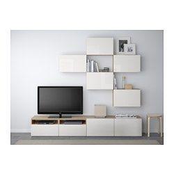 IKEA - BESTÅ, Combinaison meuble TV, motif noyer teinté gris/Selsviken brillant/blanc, glissière tiroir, fermeture silence, , Les tiroirs et les portes se referment doucement en silence grâce à la fonction intégrée de fermeture en douceur.Vous gagnez de l'espace au sol en exploitant l'espace au mur au-dessus de la TV avec les éléments muraux.Vous pouvez facilement dissimuler les câbles de la TV et tout autre équipement mais en les gardant à portée de main g...
