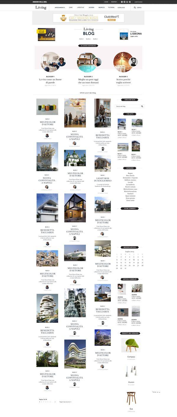 Living.corriere.it - Redesign Blogs by Fabio Mascheroni, via Behance