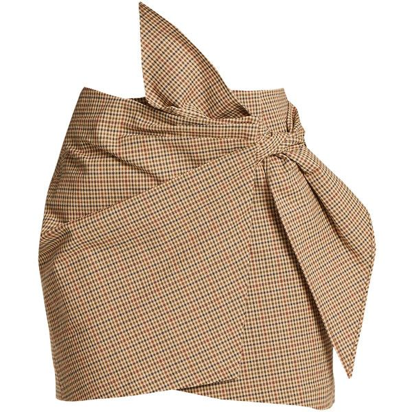 Isabel Marant Étoile Ninon mini check-print skirt ($250) ❤ liked on Polyvore featuring skirts, mini skirts, bottoms, beige multi, patterned skirts, ruffle mini skirt, check mini skirt, wrap around skirt and flounce skirt