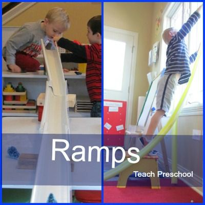 Ramps http://www.teachpreschool.org/2012/08/engineering-with-ramp-making-materials-in-preschool/?utm_source=feedburner_medium=email_campaign=Feed%3A+TeachPreschool+%28Teach+Preschool%29#