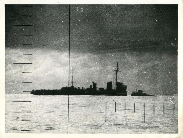 1943- Photo shows periscope view of a Japanese destroyer shortly after it was…