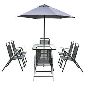 Description: This is our 8 pieces outdoor furniture set, including 1 rectangle table with glass top, 6folding chairs, and 1 round umbrella. The table features a tempered glass to pand with a hole in the middle for installing umbrella which can protect youfrom sun and rain when enjoying the outdoor scenery. It's a good choice […]