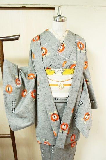 grey kimono and haori set