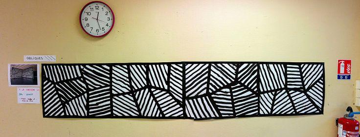 En remplacement chez une collègue de maternelle MS GS qui m'a demandé de travailler les obliques avec ses élèves, voici une œuvre collective : lignes obliques à la manière de Sol LeWitt. A no…