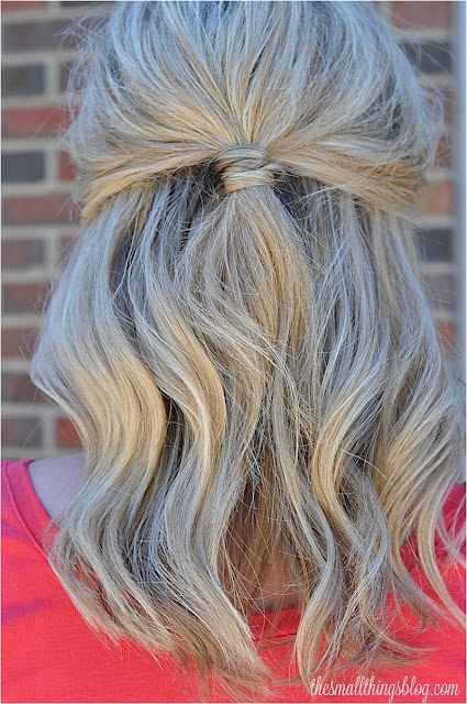 Half Up hairstyle, wrap elastic band with hair from underneath the ponytail not inside the ponytail.