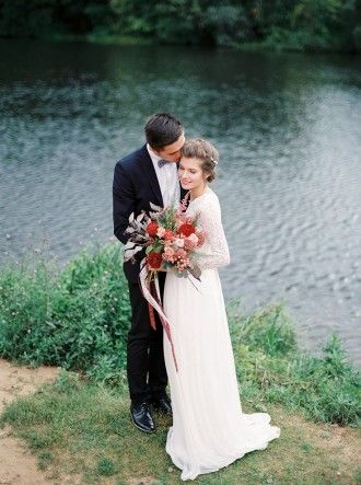 Autumn wedding inspiration in Shades of red   lace wedding dress with long sleeves   fabmood.com